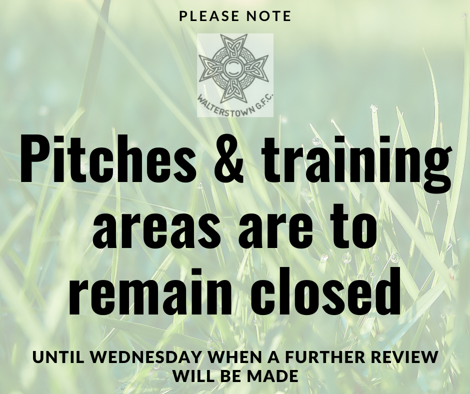 Grass pitches and training areas to remain closed until at least Wednesday