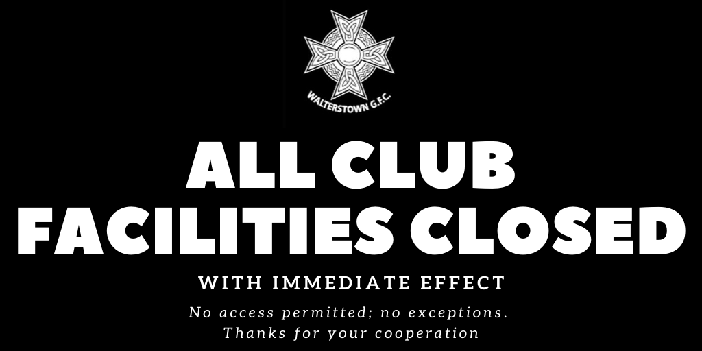 All club facilities closed with immediate effect