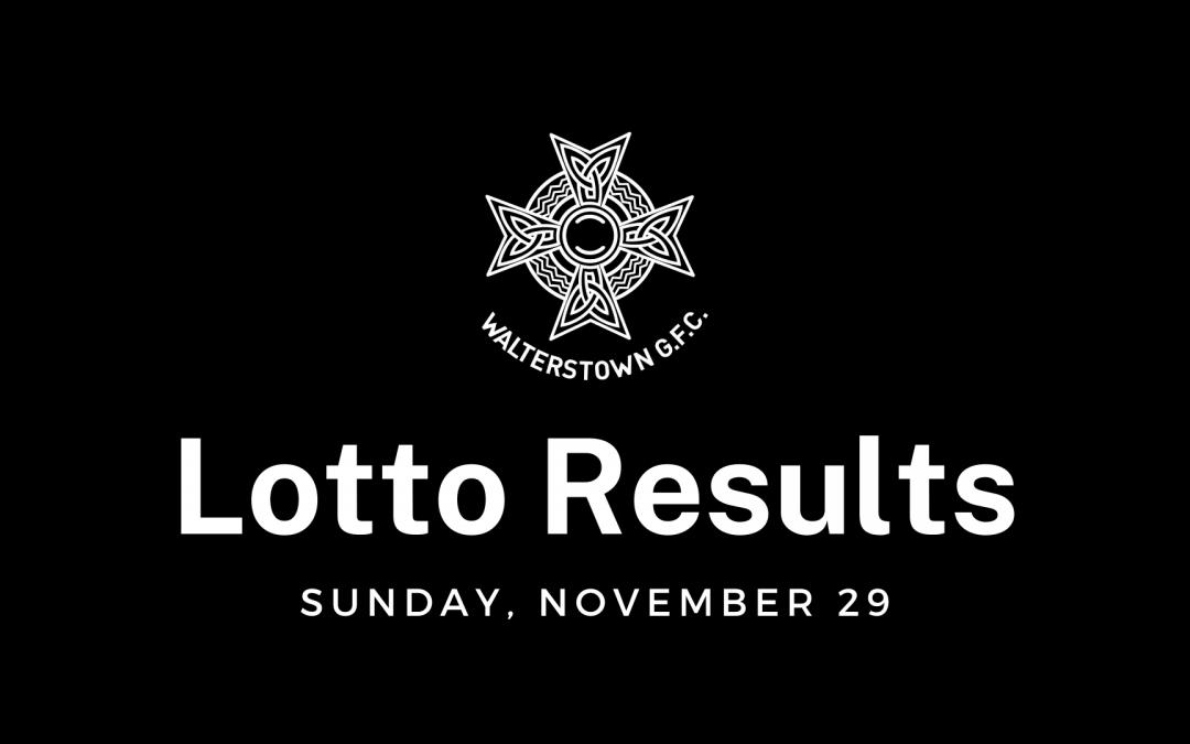 Lotto draw results, Sunday, November 29, 2020
